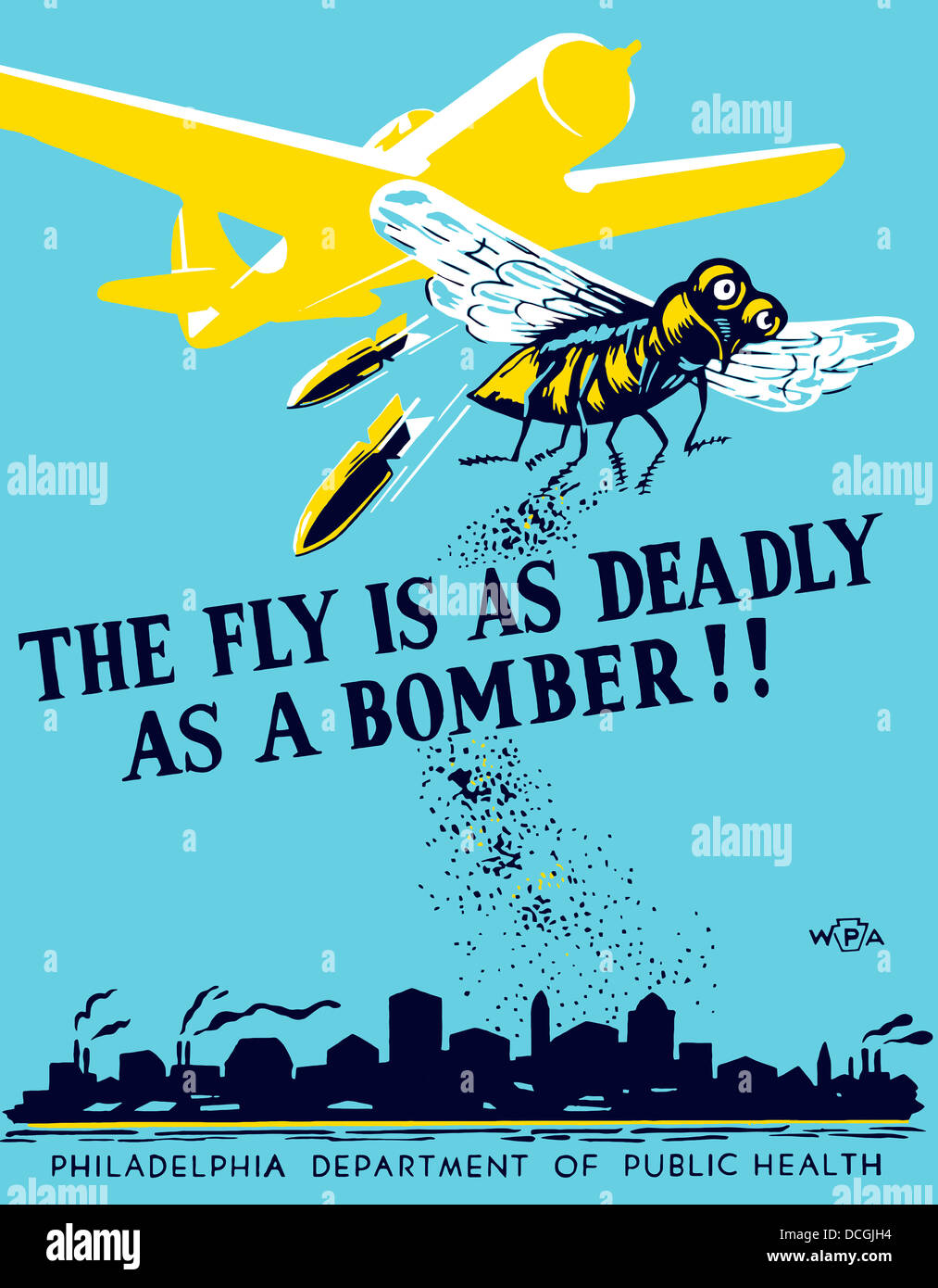 WPA propaganda poster of a bomber plane and a fly dropping germs. - Stock Image