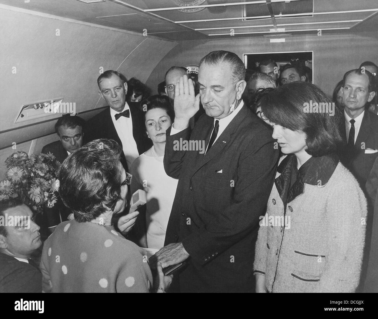 Lyndon Johnson taking the Presidential Oath of Office. - Stock Image