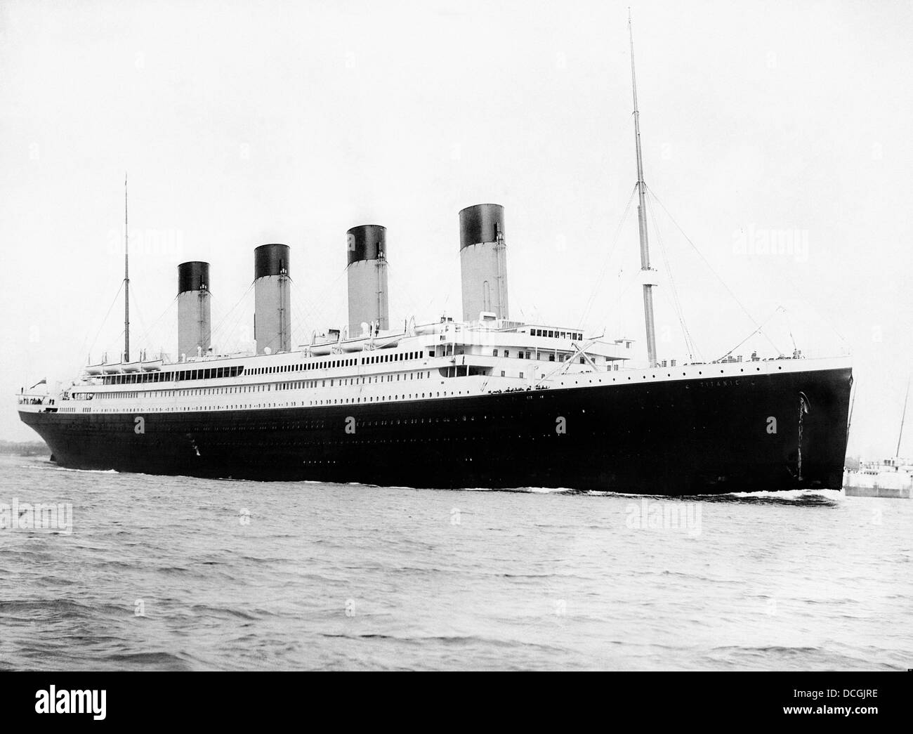 Digitally restored vintage maritime history photo of the RMS Titantic departing Southampton on April 10, 1912. - Stock Image