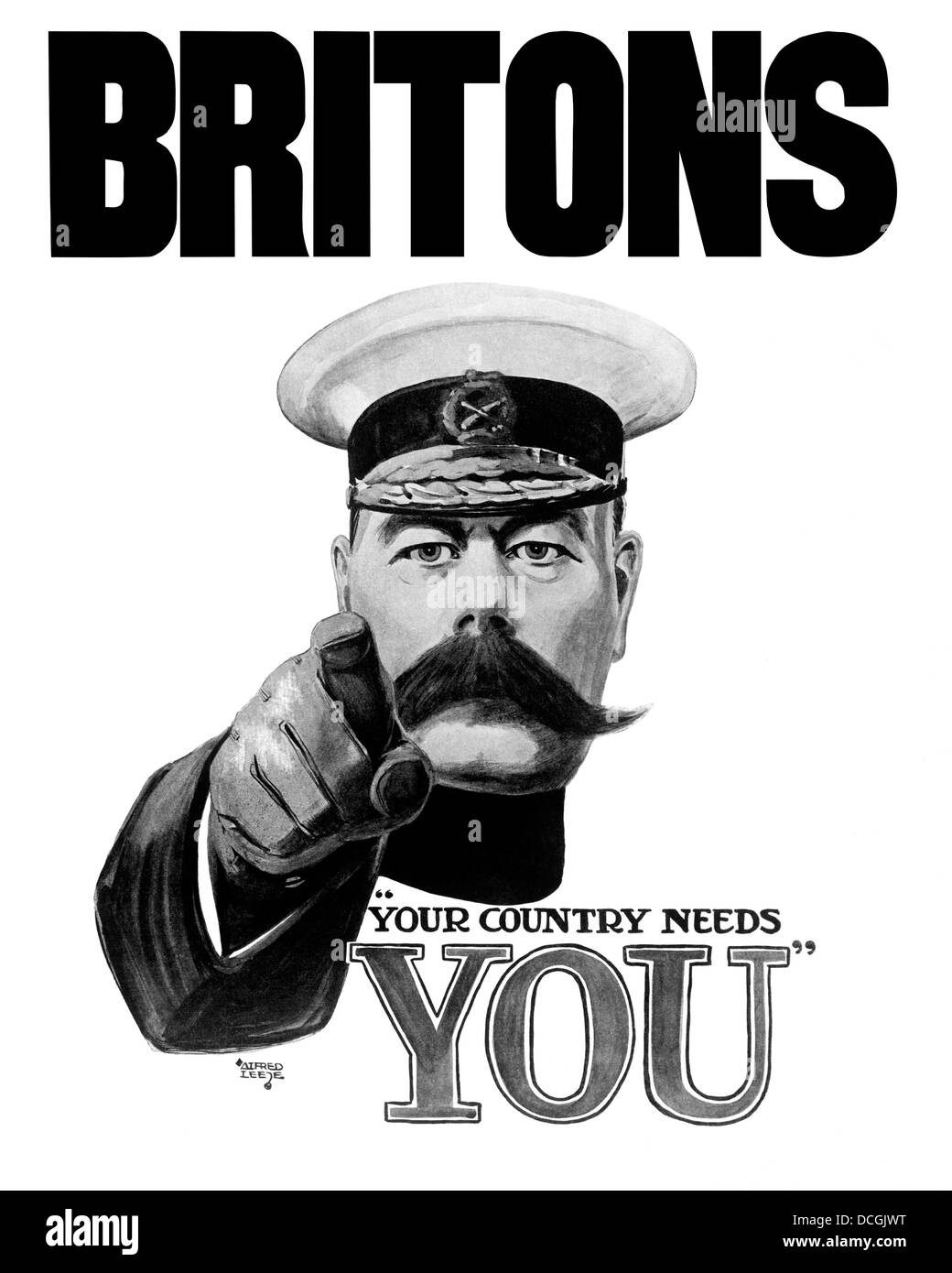 English World War I propaganda poster featuring Lord Kitchener. - Stock Image