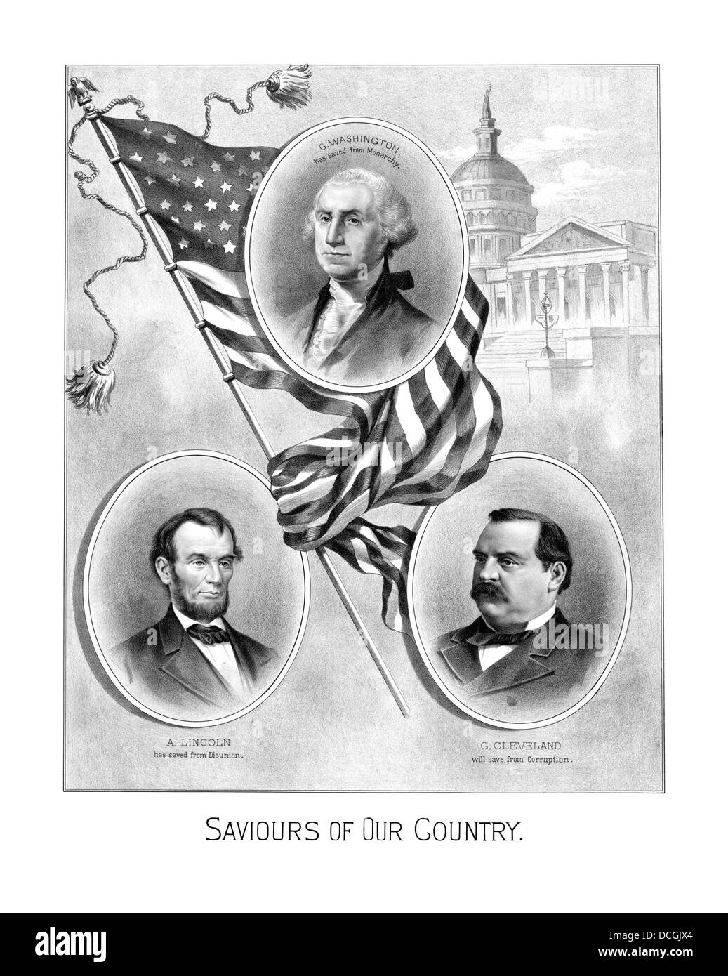 Digitally restored vintage American history print. - Stock Image