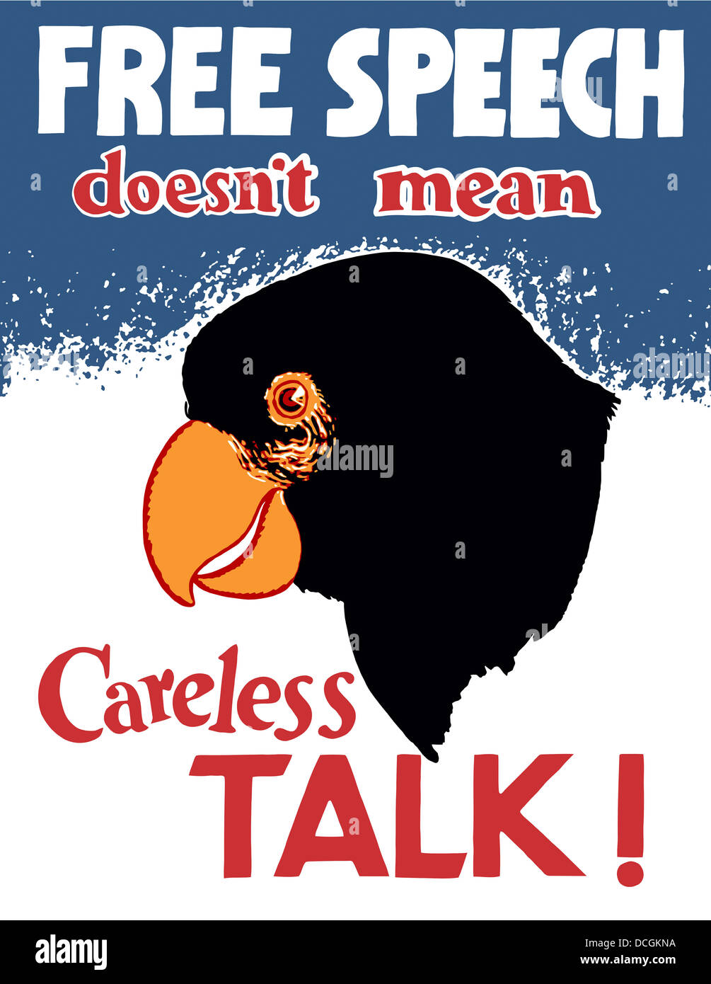 Vintage World War II propaganda poster featuring a parrot. It reads, Free Speech Doesn't Mean Careless Talk! - Stock Image