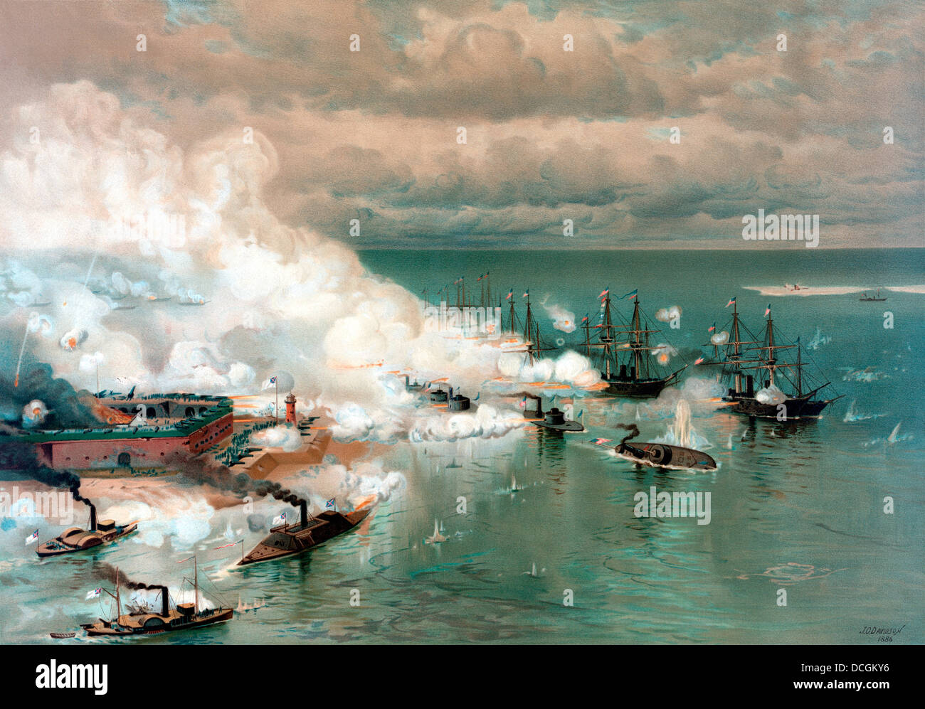 Vintage American Civil War print of The Battle of Mobile Bay, August 5, 1864. - Stock Image