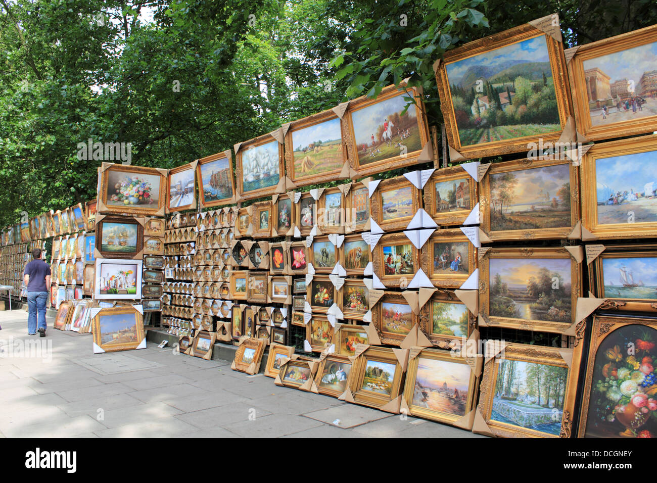 Paintings For Sale On The Railings Of Green Park Along Piccadilly