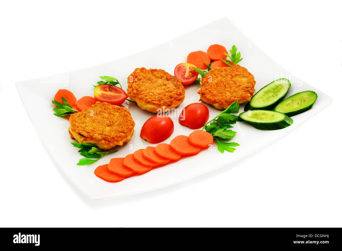 Chicken cutlets with vegetables. Dietary food. - Stock Image