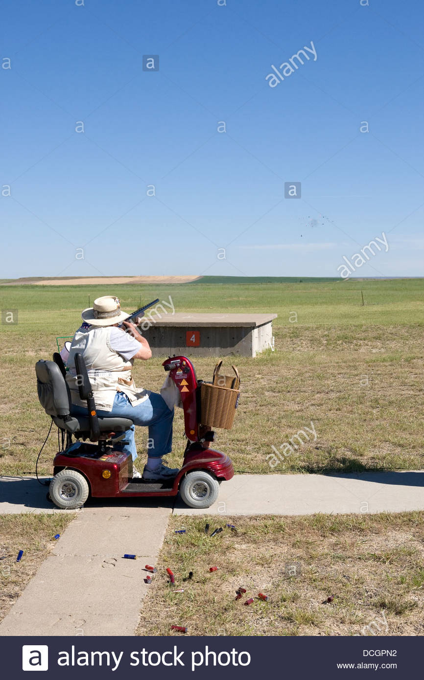 Trap Shooting Motorized Scooter - Stock Image