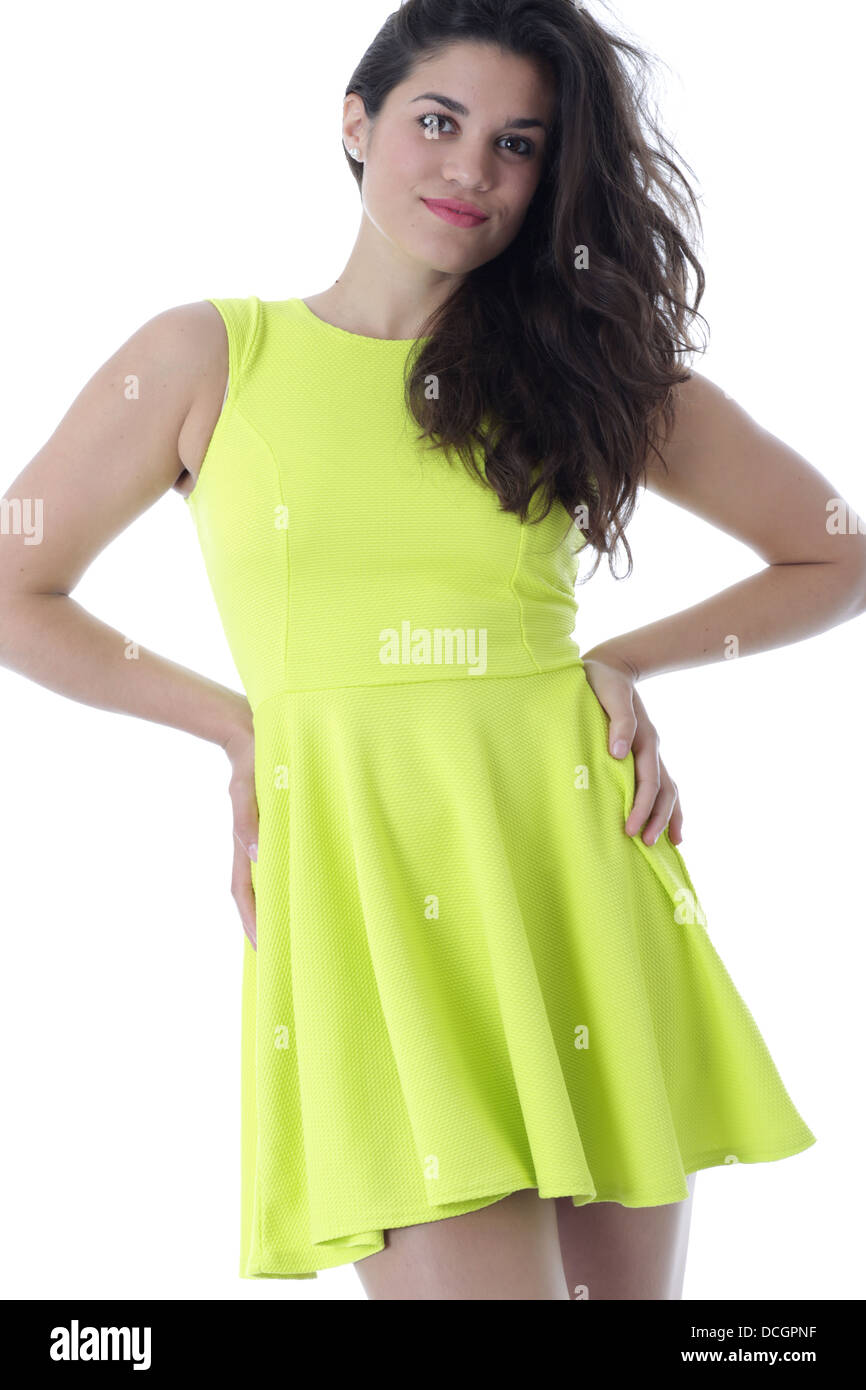 d352f4a22822 Attractive Young Woman Modeling a Short Bright Mini Dress - Stock Image