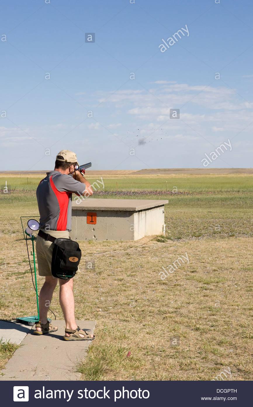 Trap Shooting Shotgun - Stock Image