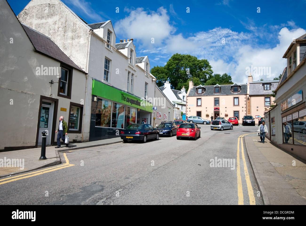The main road through the town centre of Portree on the Isle of Skye, Scotland, UK - Stock Image
