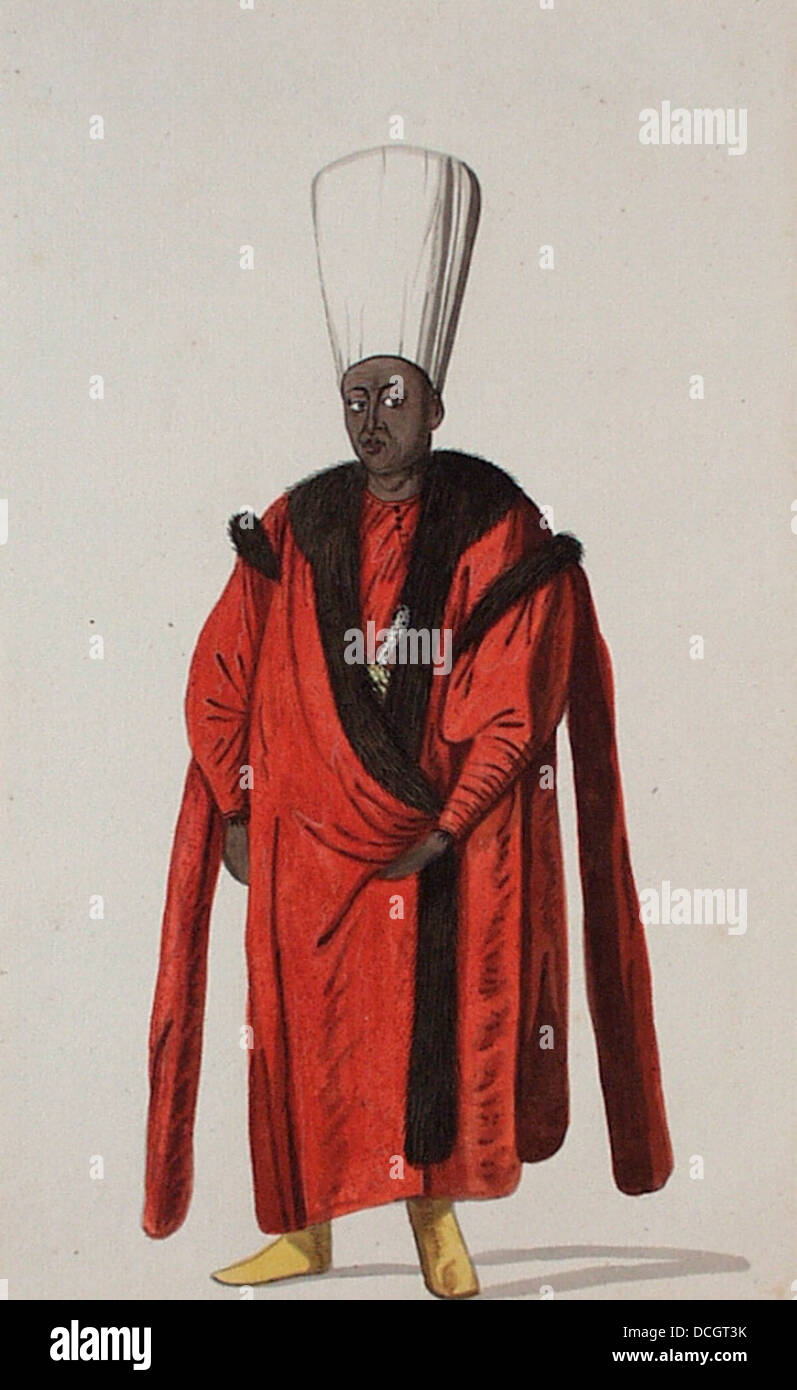 Turkish Personage and Costume- Kizlar Aghasi, Chief Eunuch M.85.237.61 Stock Photo