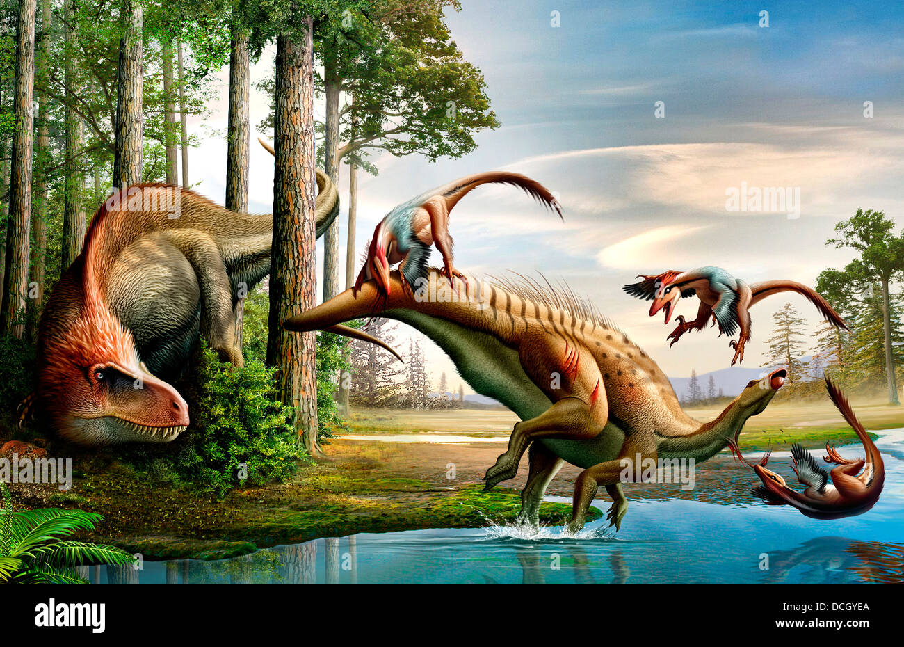 A Cretaceous Acrocanthosaurus observing a Tenontosaurus being attacked a group of Deinonychus. - Stock Image