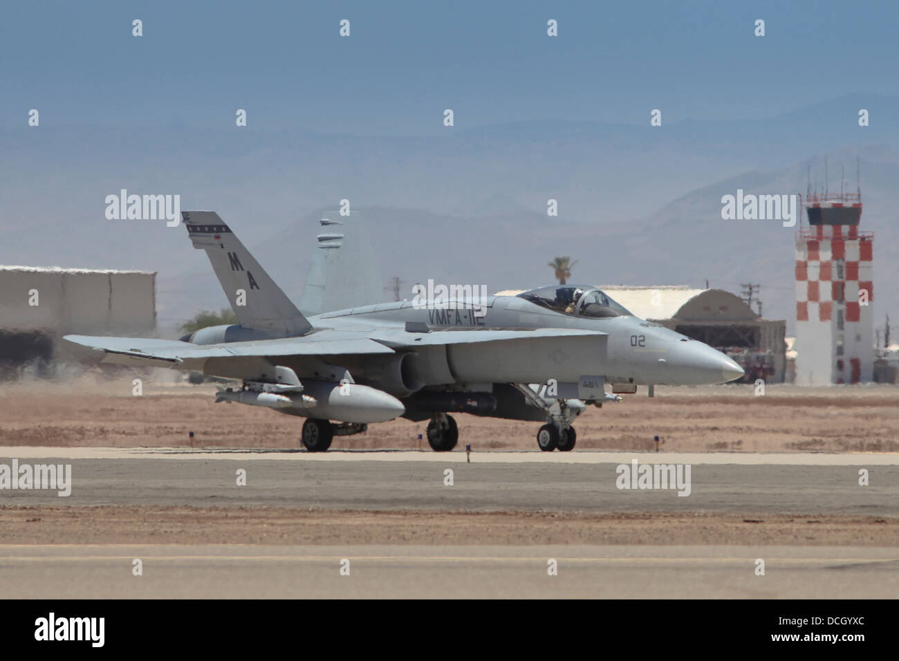 An F/A-18A Hornet loaded with two GBU-38 JDAM bombs. - Stock Image