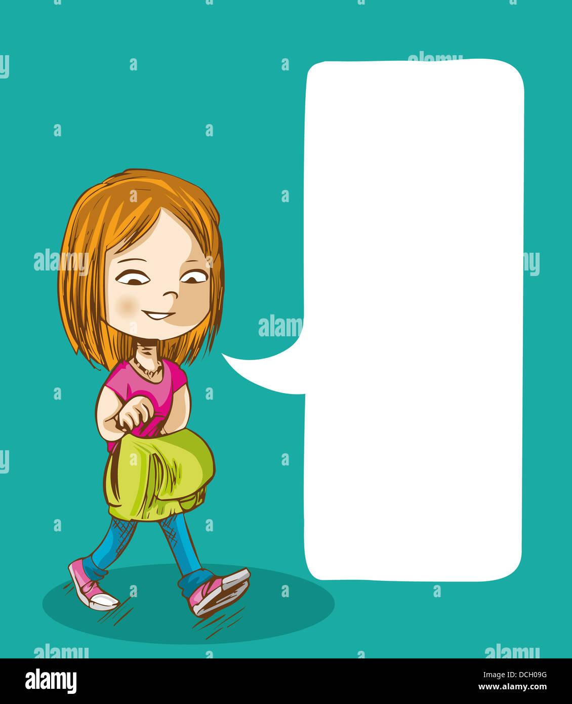 Education Cartoon Girl Walking Back To School With Social Media Stock Photo Alamy