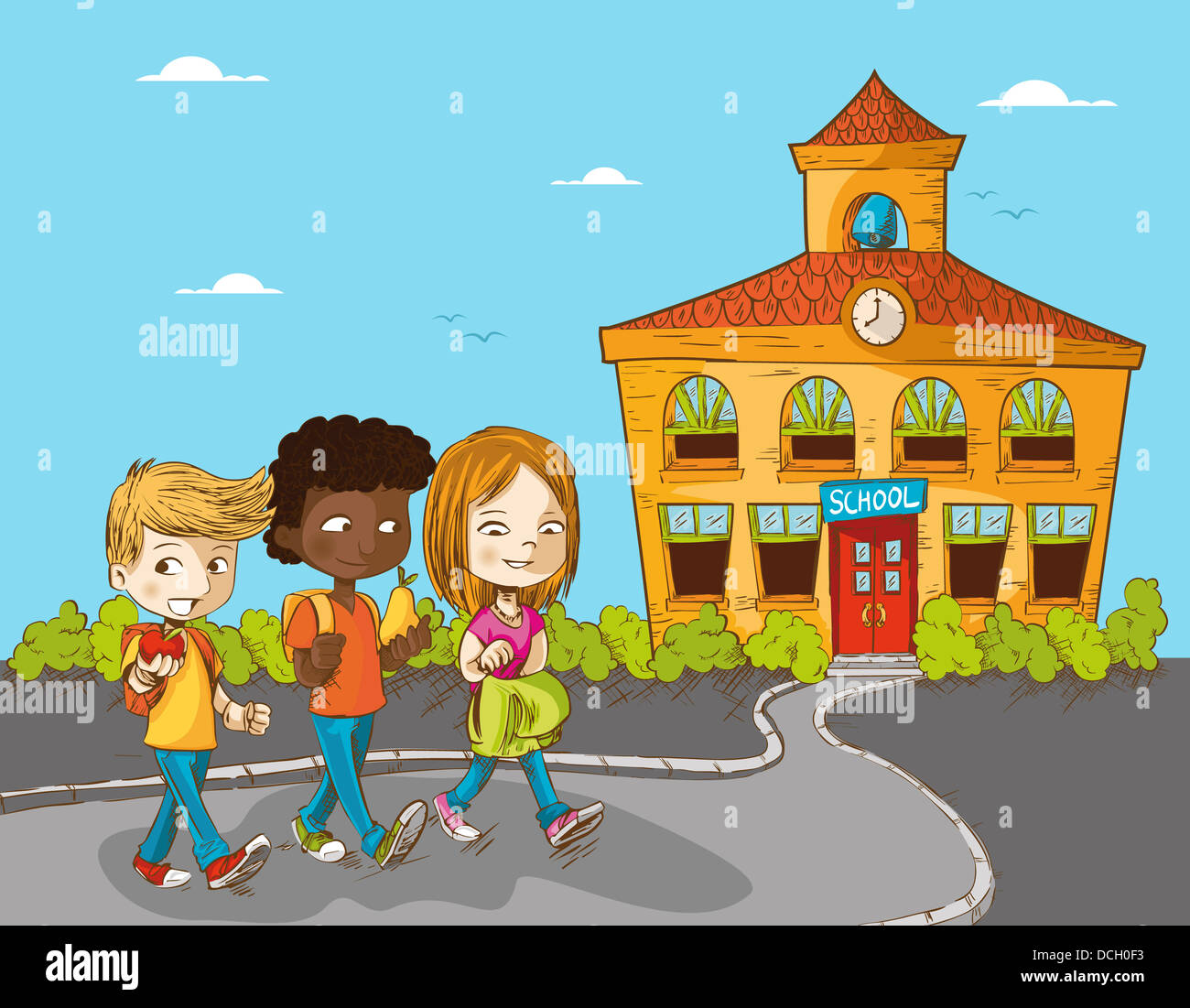 Back To School Cartoon Kids Walking To School Education
