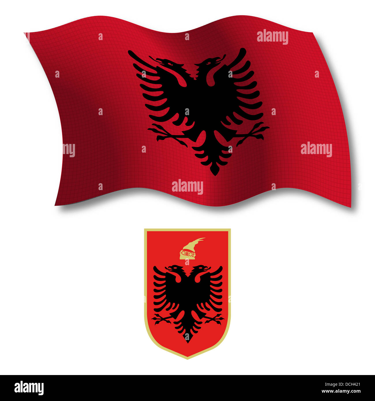 albania shadowed textured wavy flag and coat of arms against white background, vector art illustration, image has - Stock Image