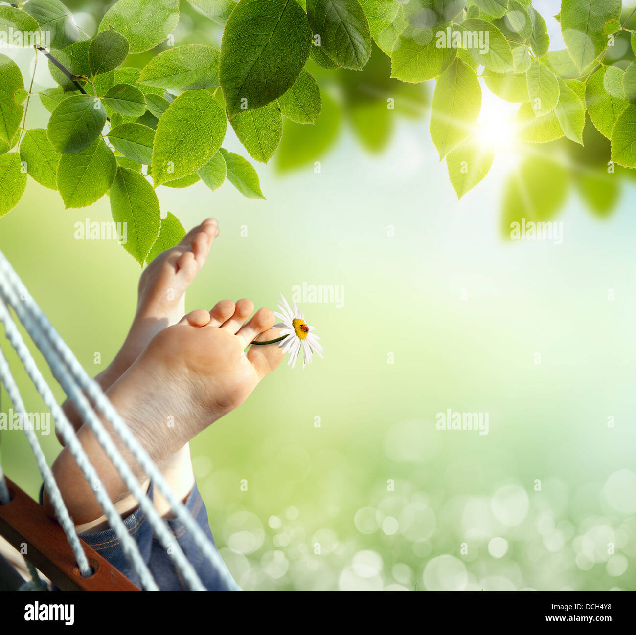 Relax in nature. Feet close up in a hammock - Stock Image