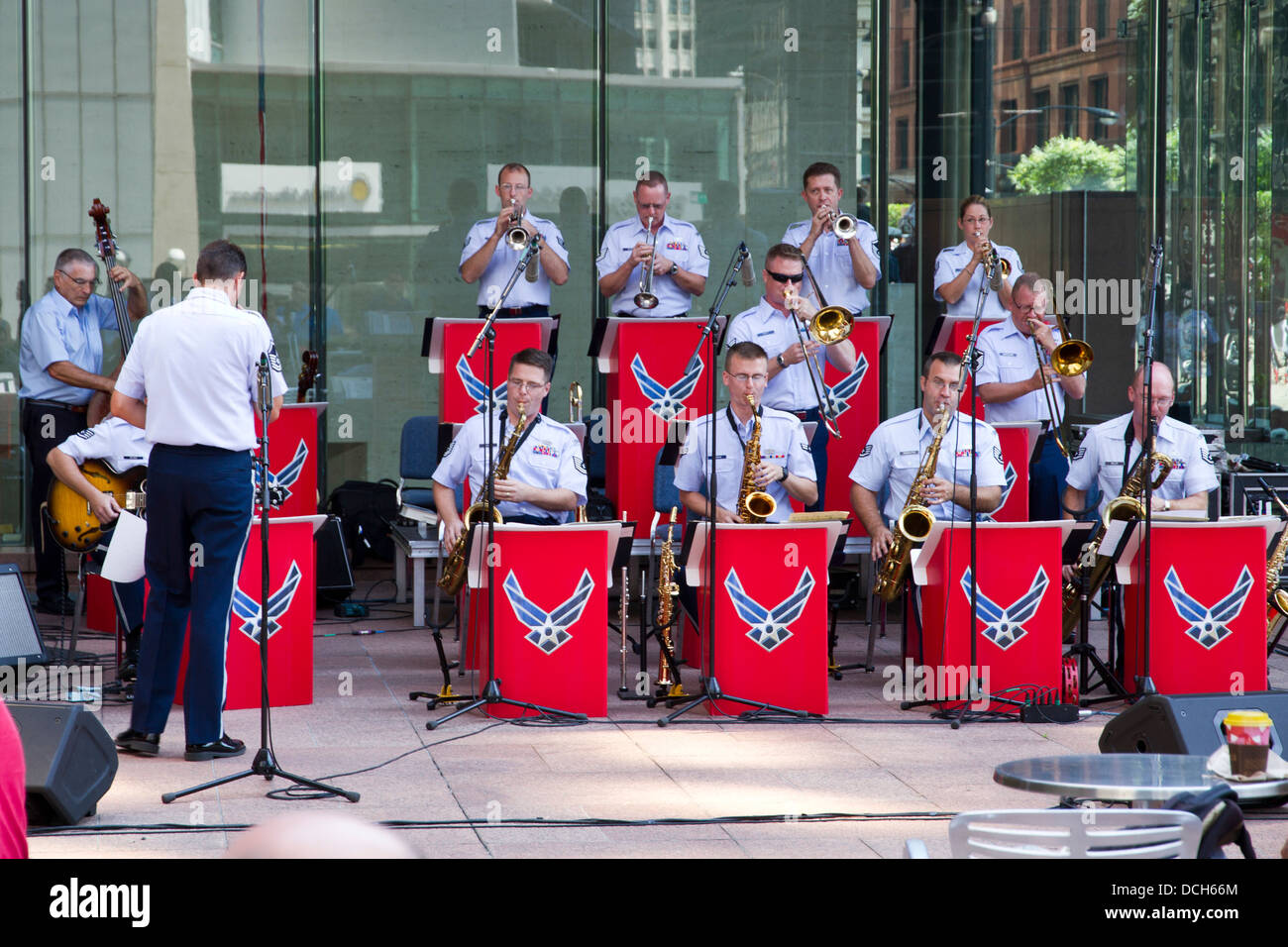 The U.S. air force 'Band of Mid-America' playing on a street in Chicago, Illinois, USA - Stock Image