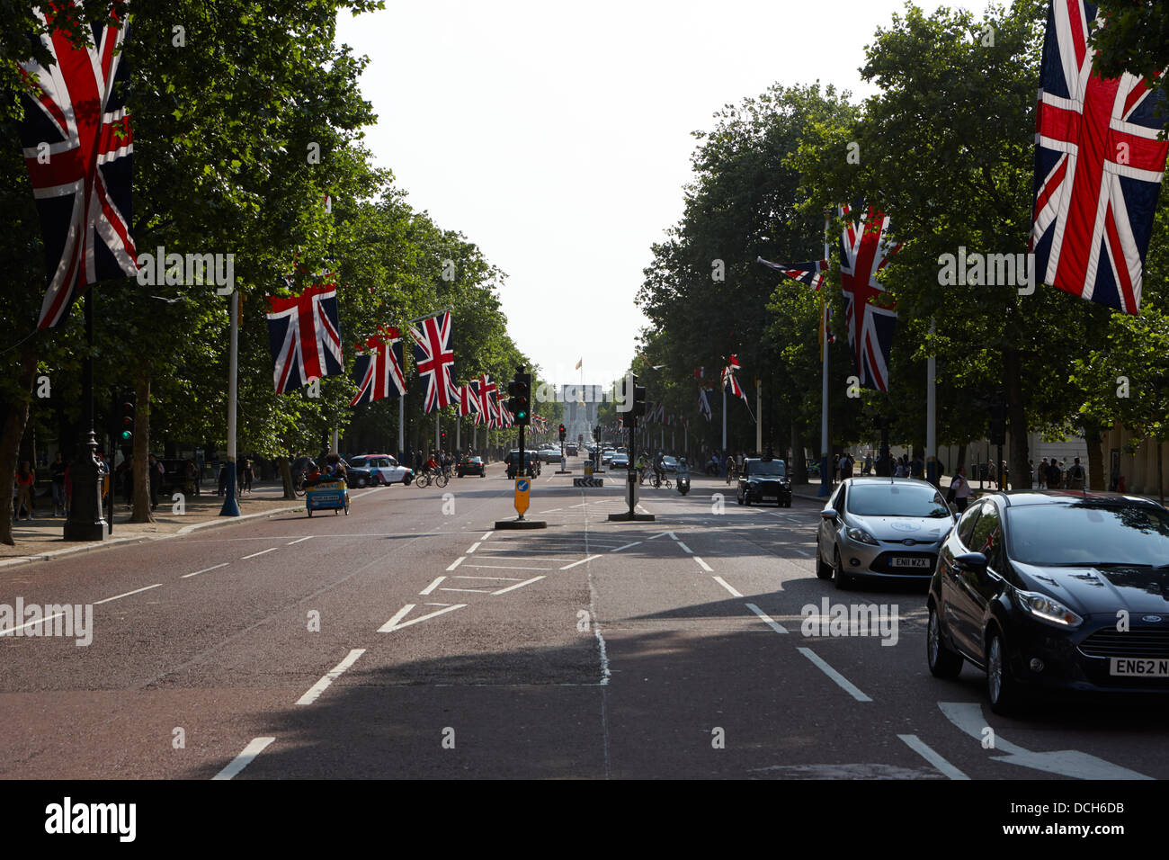 the mall lined with union flags London England UK - Stock Image