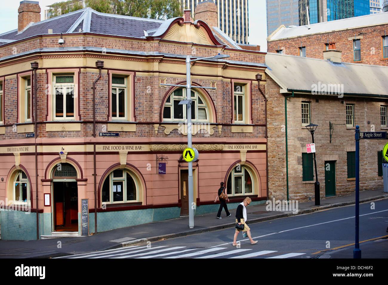 Fine Food & Wine Bar on Argyle Street, Sydney, Australia - Stock Image