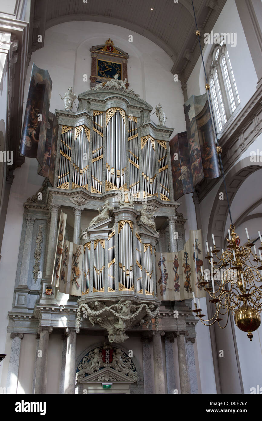 Westerkerk (Western church) organs in Amsterdam, Holland, Netherlands. - Stock Image