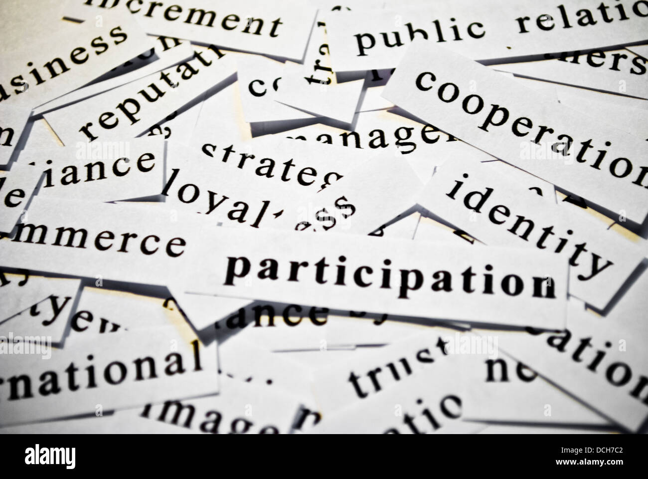Participation. Concept of cut-out words related with business activity - Stock Image