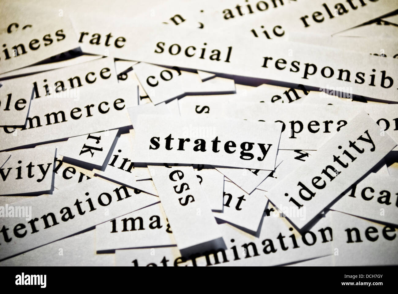 Strategy. Concept of cut-out words related with business activity - Stock Image
