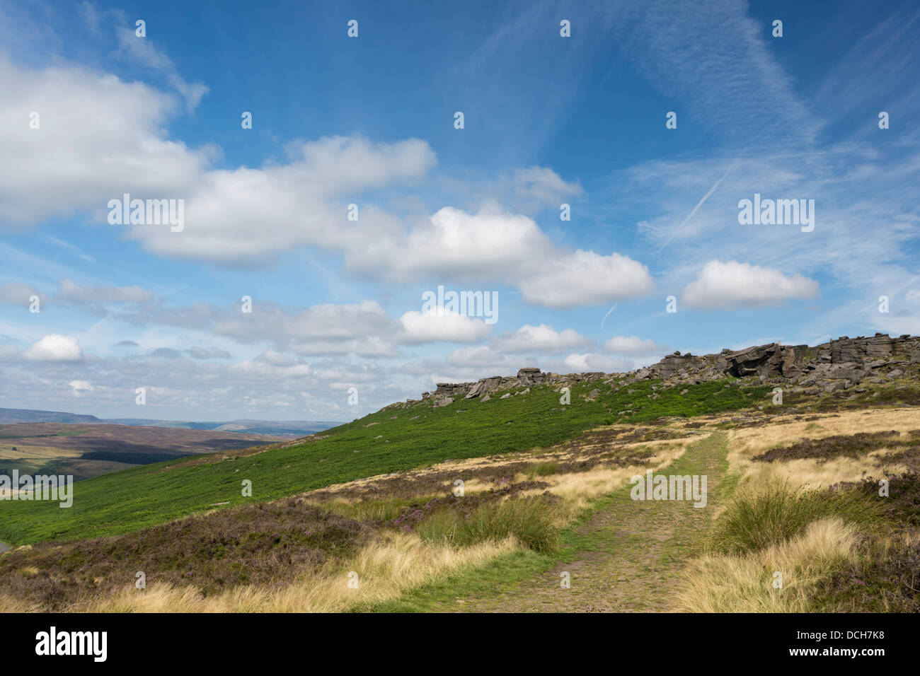 Old pack horse track leadind towards Stanage Edge, Peak District, Derbyshire - Stock Image