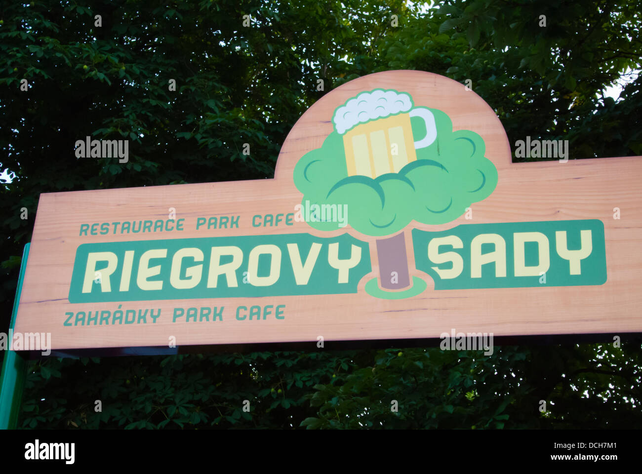 Riegrovy Sady beer garden exterior Vinohrady district Prague Czech Republic Europe - Stock Image