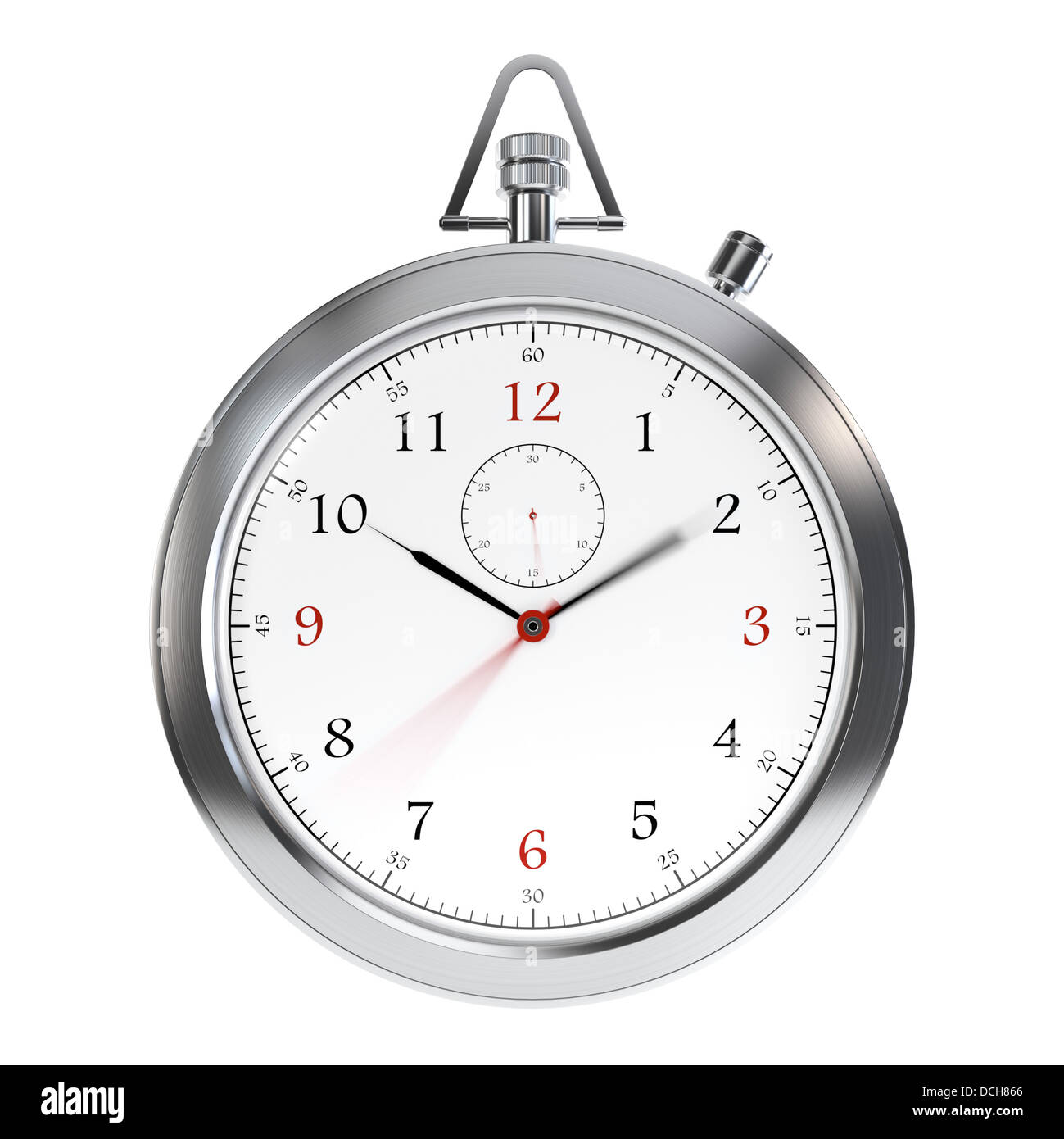 Computer generated image of metal clock isolated on white background - Stock Image