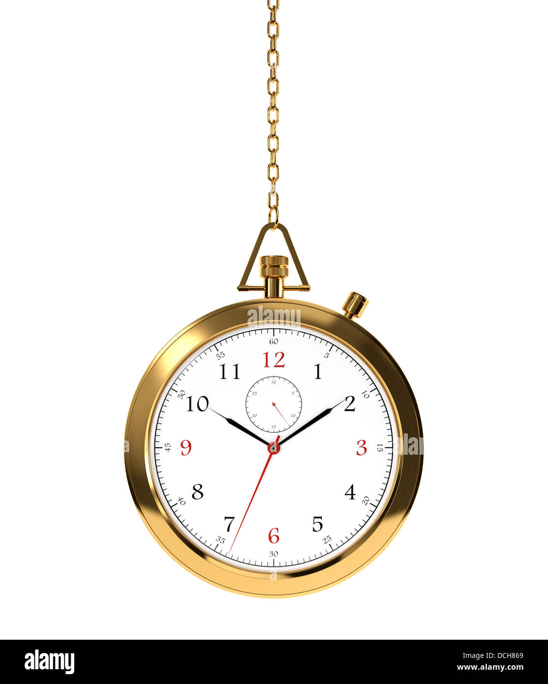 Computer generated image of golden clock isolated on white background - Stock Image