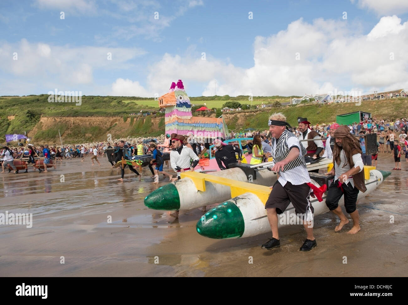 Cornwall, UK, 18th August 2013. This is the sixth year in succession the Praa Sands Raft Race has taken place.  - Stock Image