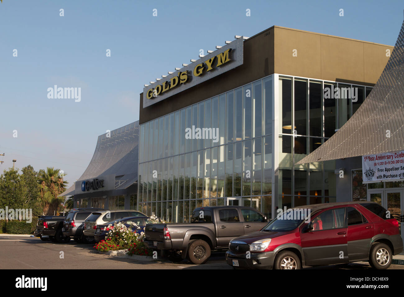 A outside view of Golds Gym fitness center in Santa Ana California USA - Stock Image