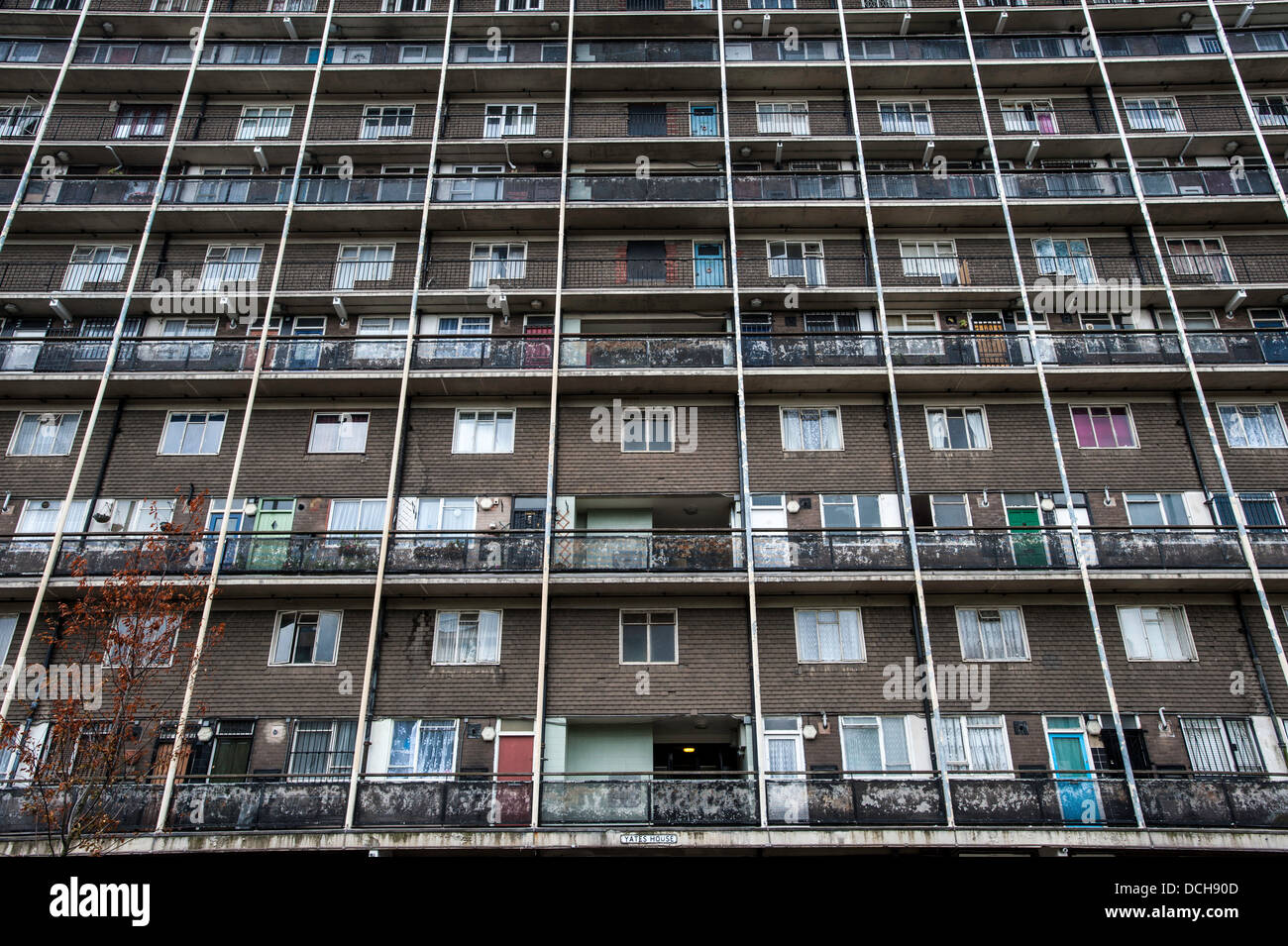 Council estate on Old Ford Road, Hackney, London, United Kingdom - Stock Image