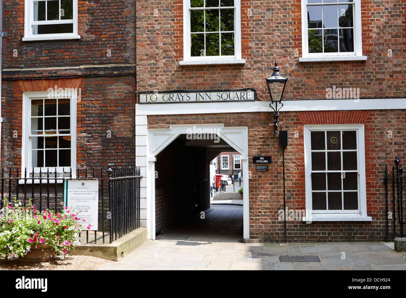 old entrance to grays inn square London England UK - Stock Image
