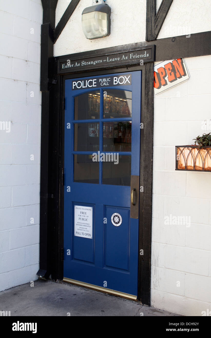 The rear door of The Olde Ship British pub in Fullerton, California ; USA decorated as an old British Police public - Stock Image