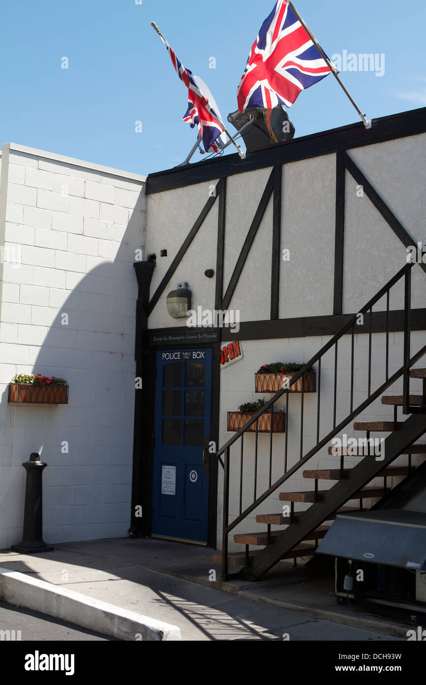The rear door of The Olde Ship British pub in Fullerton, California ; USA decorated as an old British Police public Stock Photo