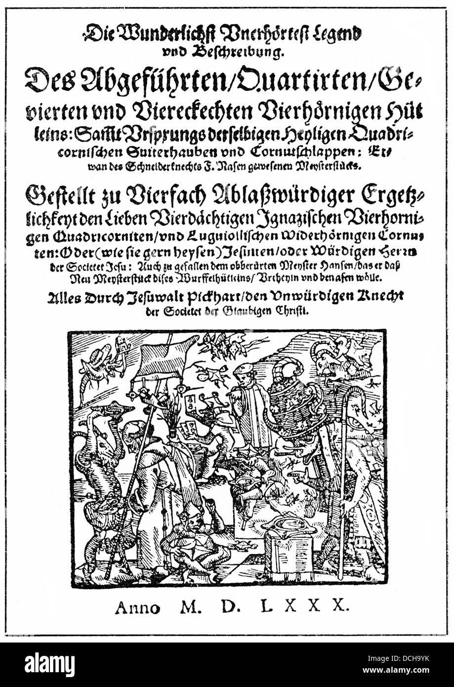 Satirical pamphlet from 1580 against the Jesuits, the Jesuiten-Huetlein - Stock Image