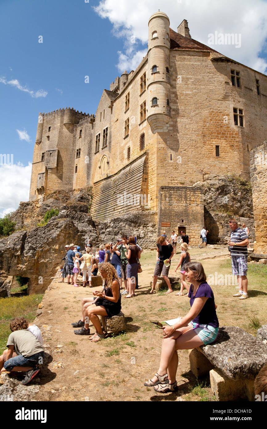 Tourists at the Chateau de Beynac, Beynac et Cazenac, the Dordogne, France Europe Stock Photo