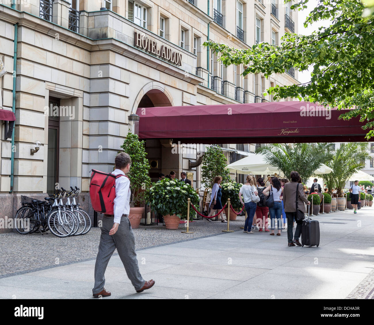 The front entrance and red awning of the luxury Hotel Adlon, Berlin - Stock Image