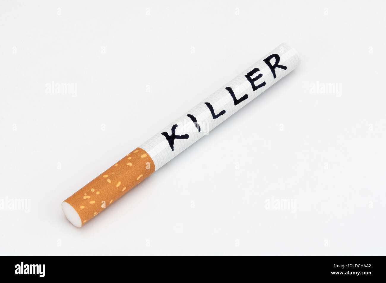 Smoking kills cigarette killer addiction - Stock Image