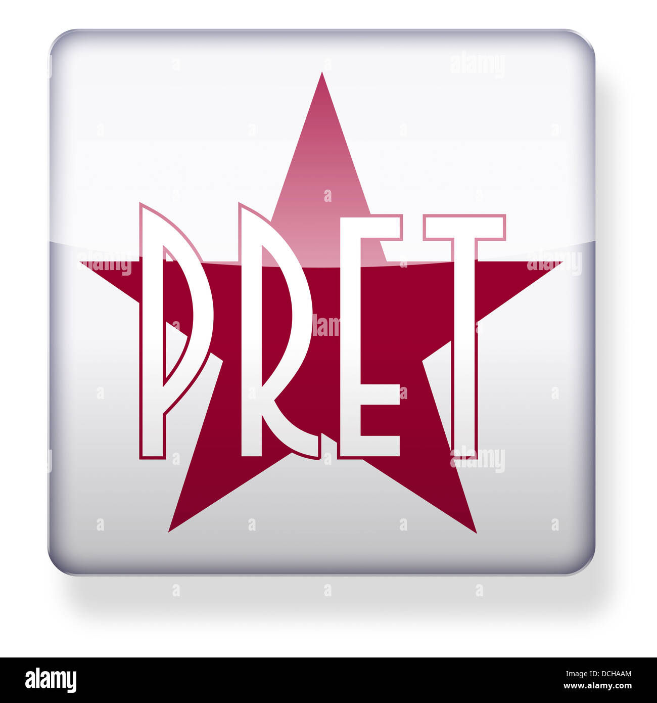 Pret a Manger logo as an app icon. Clipping path included. Stock Photo