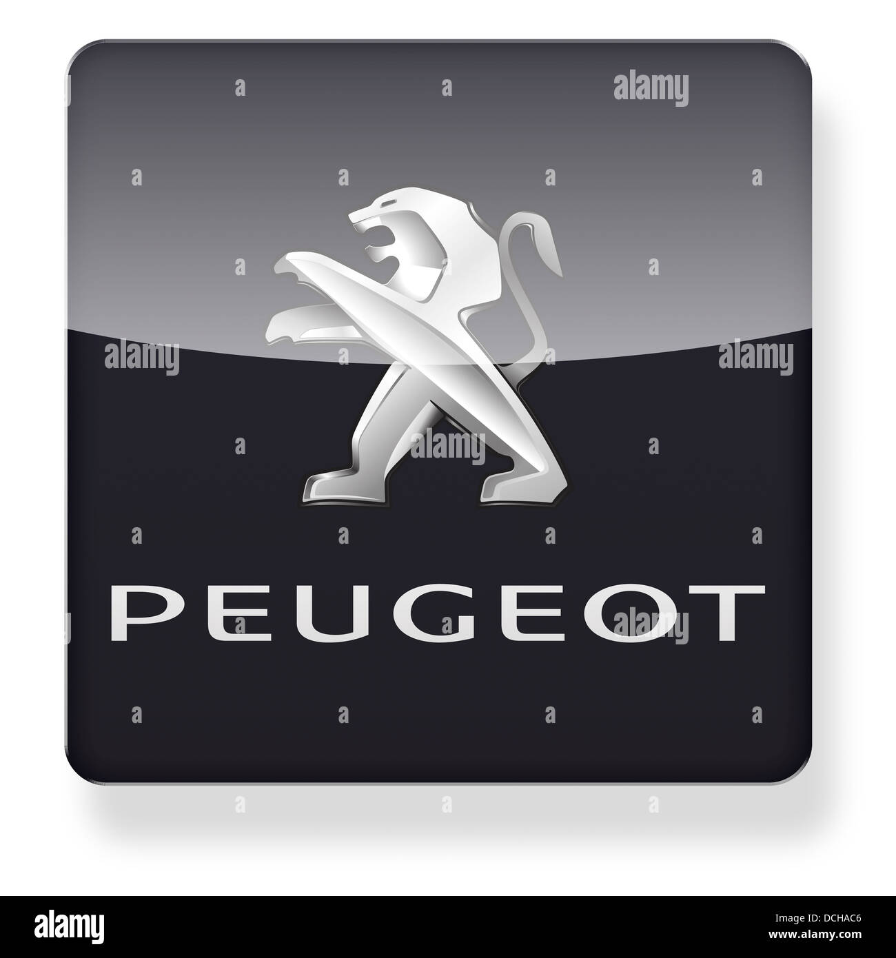 Peugeot logo as an app icon. Clipping path included. - Stock Image