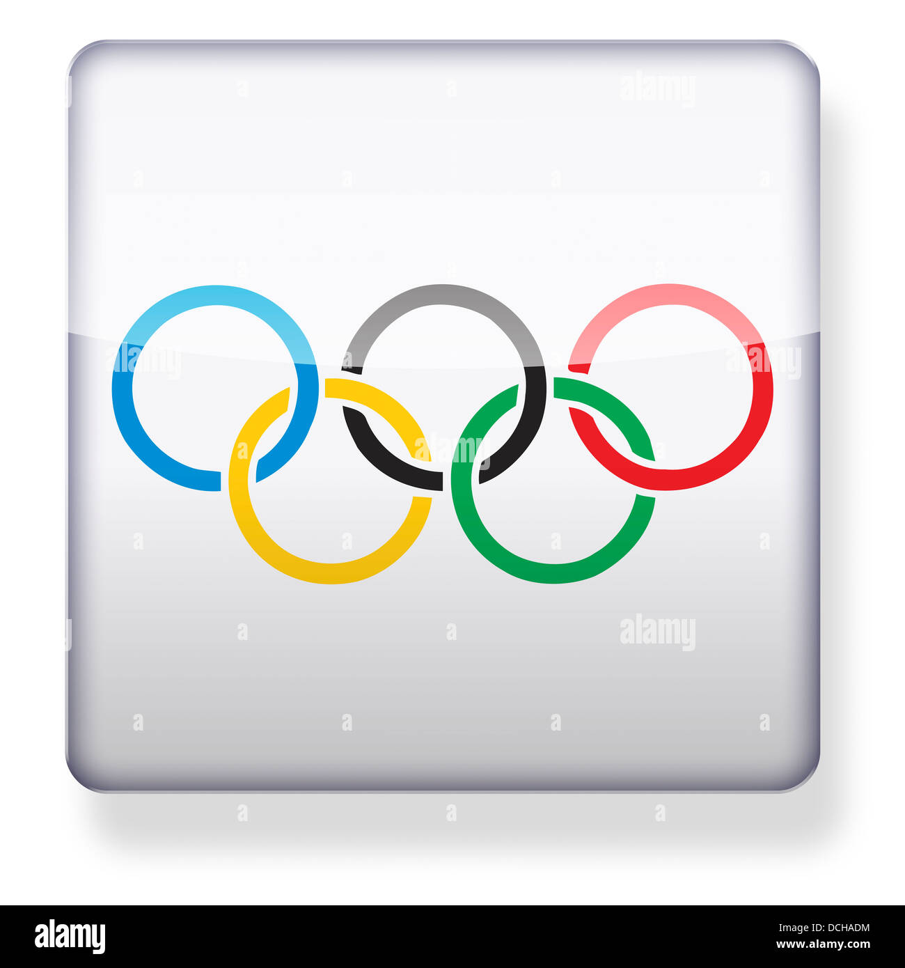 Olympic rings as an app icon. Clipping path included. - Stock Image