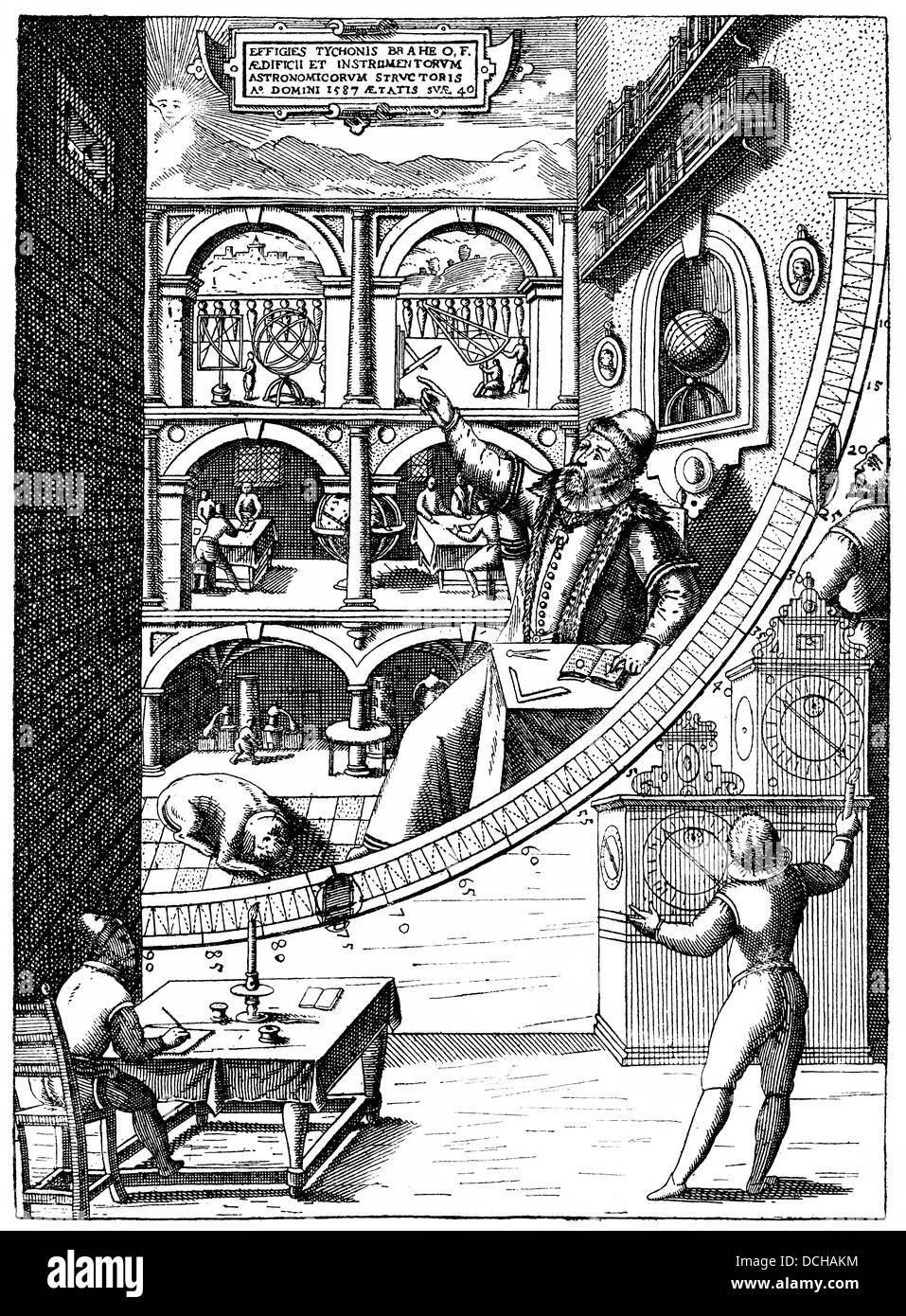 The Danish astronomer Tycho de Brahe, 1546-1601, in Uraniborg Observatory, Øresund island of Ven off Landskron - Stock Image