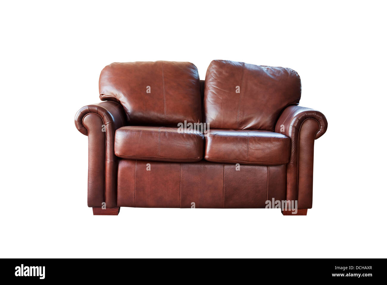 brown leather sofa cut out on white - Stock Image