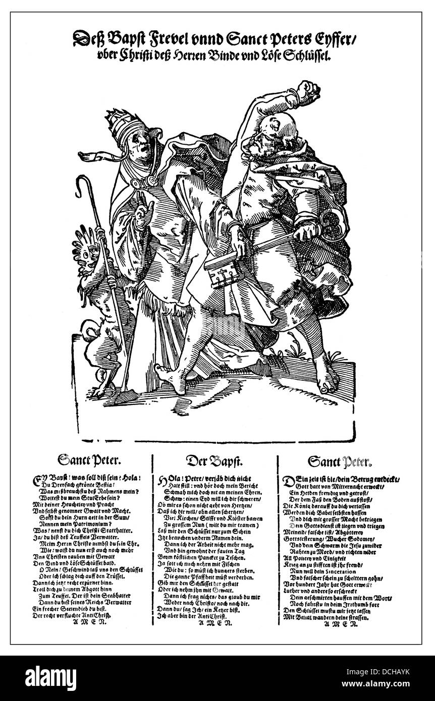 German satirical pamphlet from the 16th Century, caricature of the non-Christian life of the Pope - Stock Image