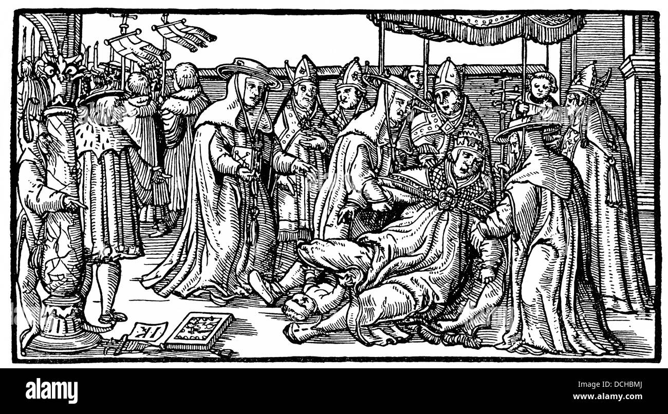 depiction of the birth of Pope Joan after a woodcut from the 14th Century - Stock Image