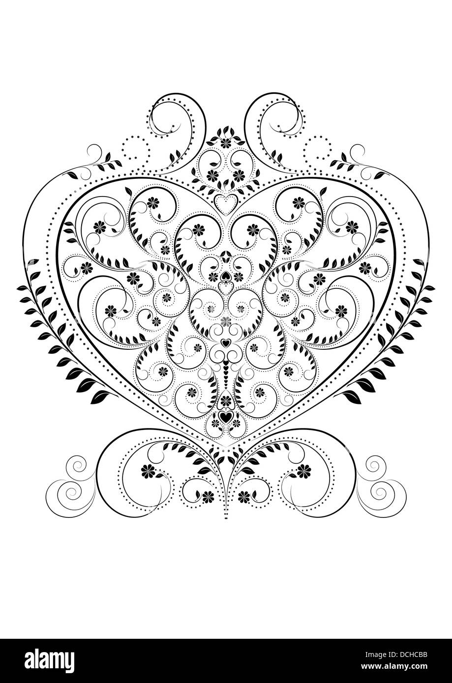 Openwork pattern in the form of heart - Stock Image