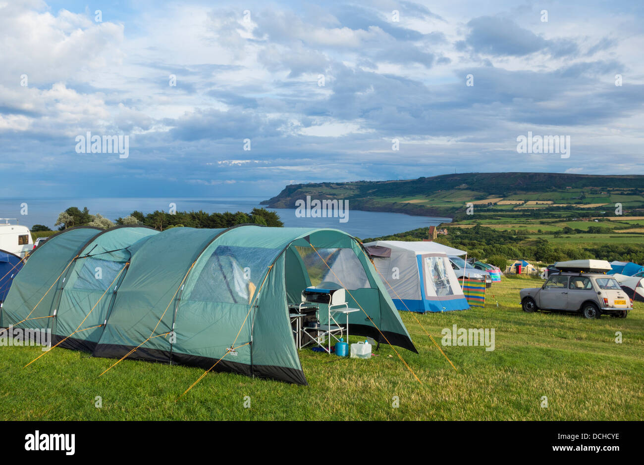 View from Hooks House Farm campsite at Robin Hood's Bay, North Yorkshire, England, UK - Stock Image