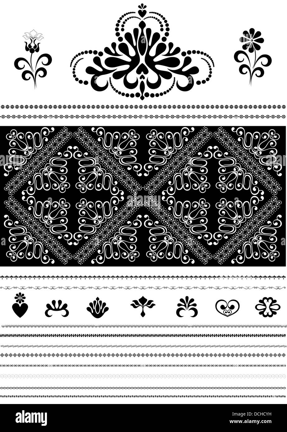 Calligraphic openwork border and ornaments for design - Stock Image